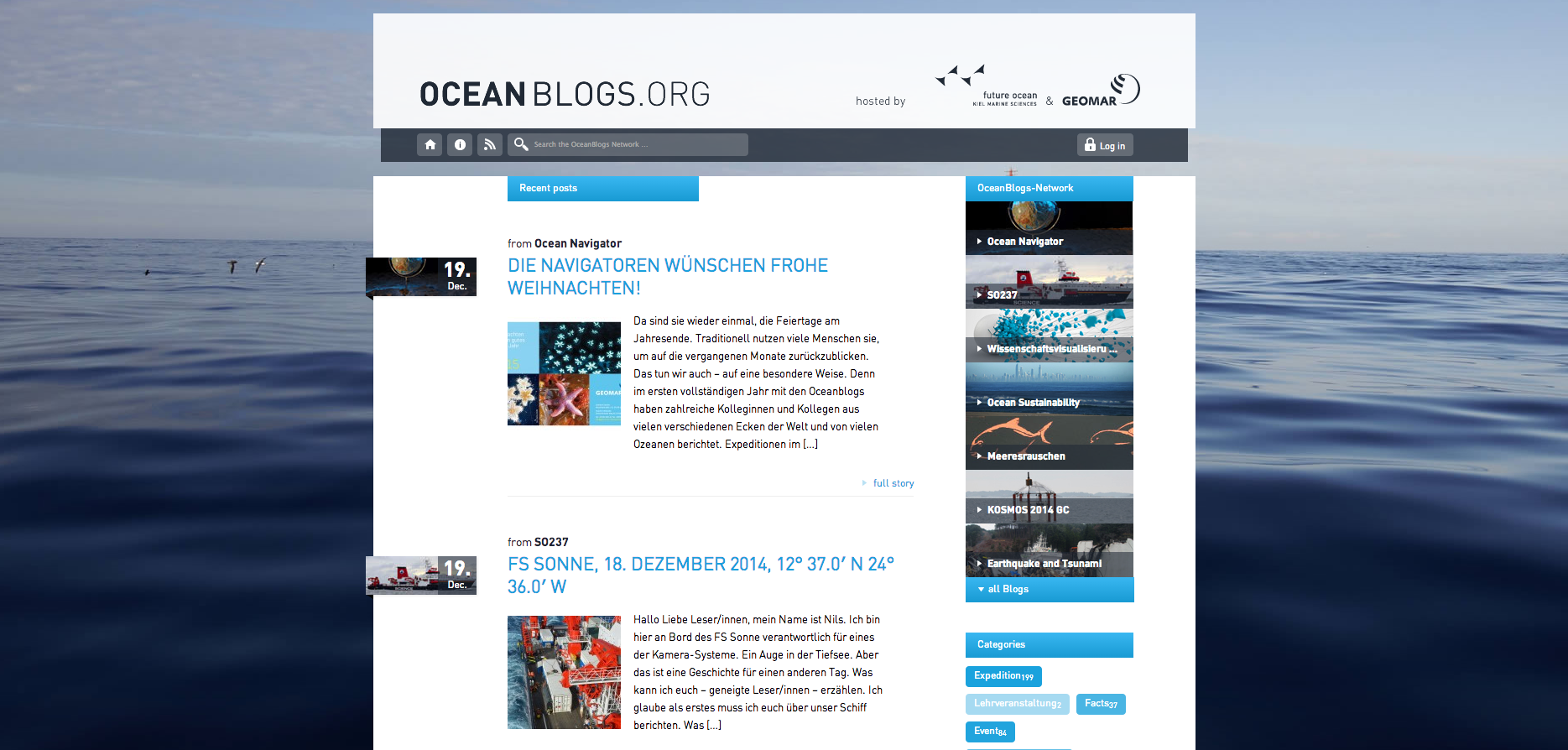 Screenshot Ocean Blogs