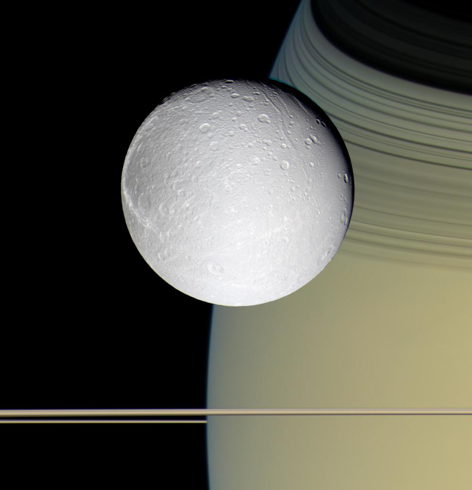 """PIA07744: Ringside with Dione"" © NASA/JPL/Space Science Institute"
